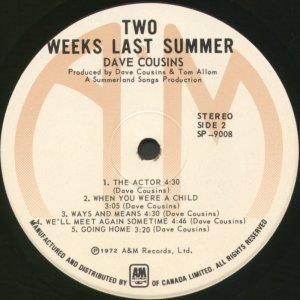 Two Weeks Last Summer Canada 1st side 2 label
