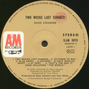 Two Weeks Last Summer Ital side 1 label