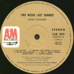 Two Weeks Last Summer Ital side 2 label